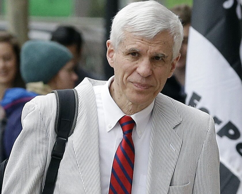 FILE - In this Thursday, April 30, 2015, file photo, defense attorney David Bruck arrives at federal court in Boston during the penalty phase in the trial of Dzhokhar Tsarnaev. On Thursday, July 23, 2015, a federal judge appointed Bruck to represent Dylann Roof, who authorities have charged with the June 17 shooting at Emanuel African Methodist Church in Charleston, S.C. (AP Photo/Steven Senne, File)
