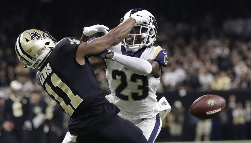 Rams cornerback Nickell Robey-Coleman breaks up a pass intended for New Orleans Saints wide receiver Tommylee Lewis.