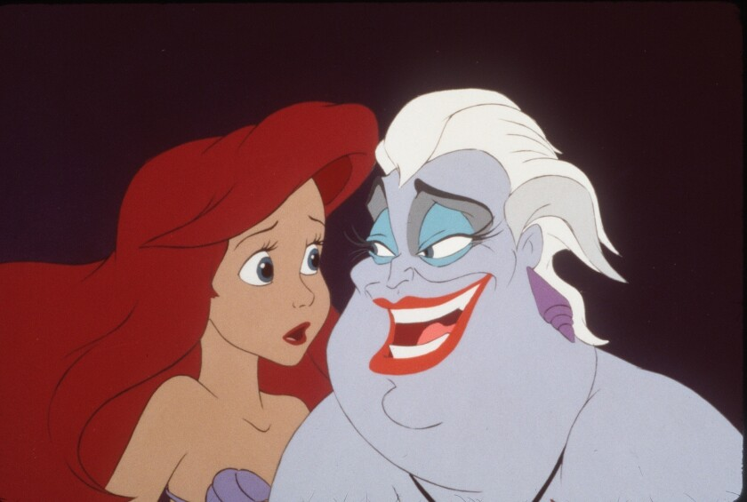 "Ariel and Ursula in a scene from ""The Little Mermaid"""