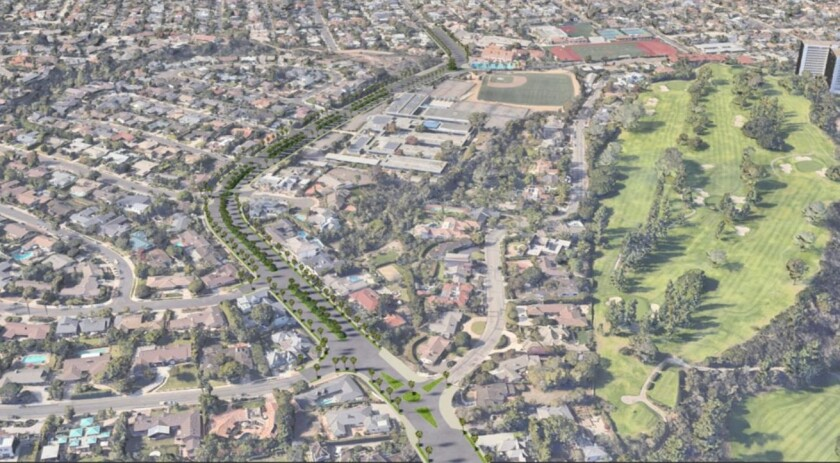 La Jolla architect Trace Wilson's concept to beautify Nautilus Street between Muirlands Drive and Fay Avenue