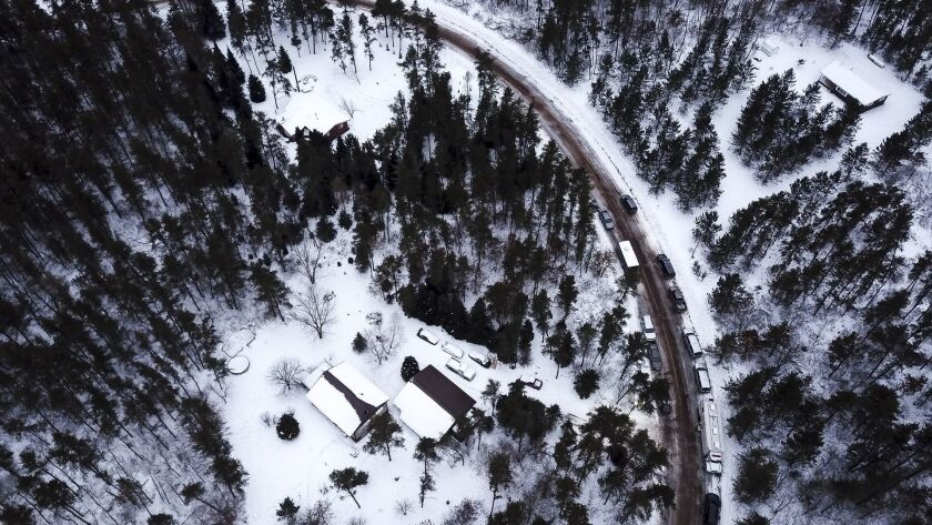 This aerial photo shows the cabin where 13-year-old Jayme Closs was held by Jake Thomas Patterson,