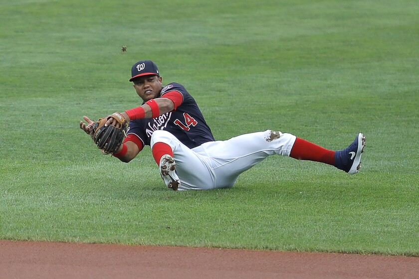 Washington Nationals second baseman Starlin Castro is unable to field a ground ball by Baltimore Orioles' Bryan Holaday during the sixth inning in the continuation of a suspended baseball game, Friday, Aug. 14, 2020, in Baltimore. The first part of the game was suspended on Aug. 9, when the groundskeepers had technical difficulties with the infield tarp in the sixth inning during a rain delay, causing the infield to become too wet and muddy to play. Orioles' Dwight Smith Jr. scored on the play. (AP Photo/Julio Cortez)