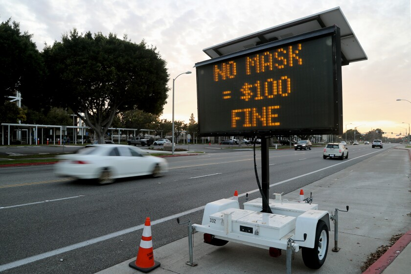 A sign posted on Friday along Fair Drive, across from City Hall, in Costa Mesa.