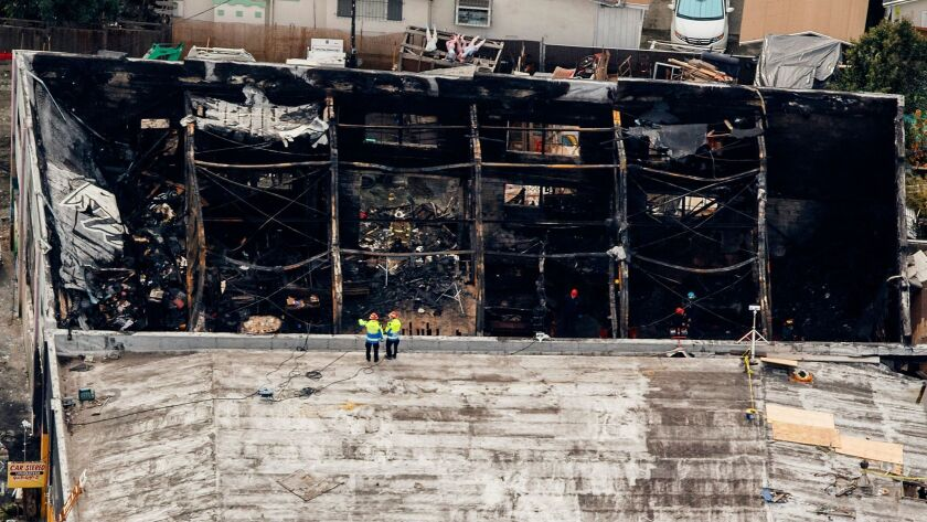 An aerial view of the Ghost Ship warehouse that burned and killed 36 people in the Fruitvale neighborhood of Oakland.