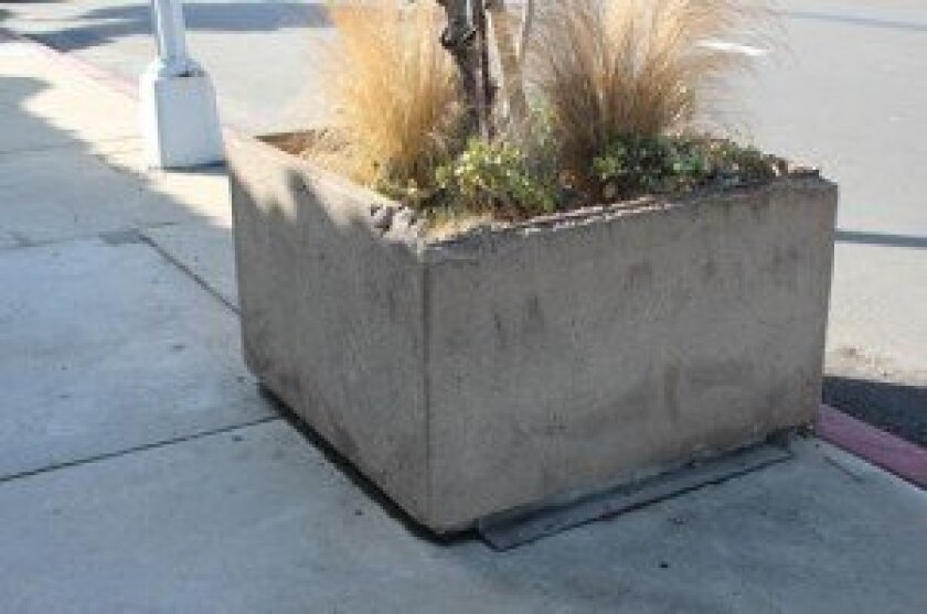 Another broken planter box in front of the AT&T facility on Girard Avenue at Torrey Pines Road.
