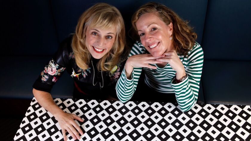 """Maria Bamford, left, the star of the Netflix series """"Lady Dynamite,"""" with show runner and co-creator Pam Brady, at the Netflix offices in Hollywood."""