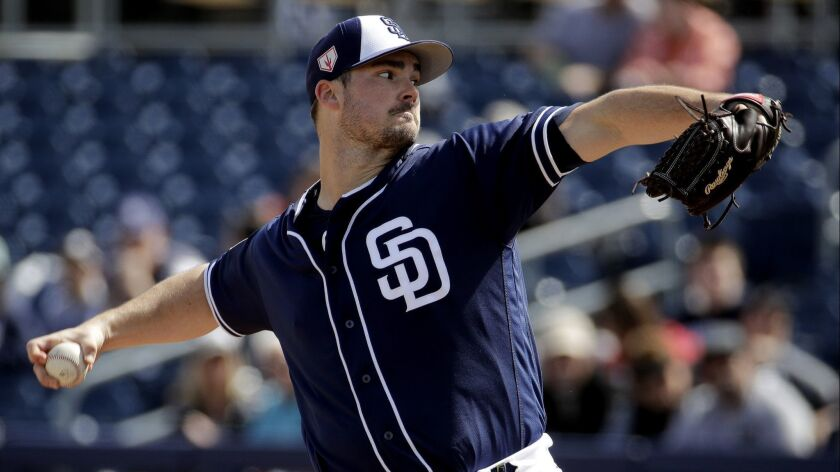 Padres pitcher Jacob Nix throws during the first inning of Sunday's spring training game against the White Sox.