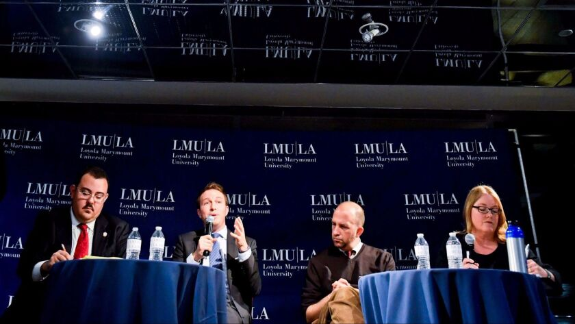 Candidates in District 4 of the L.A. Board of Education debate at Loyola Marymount University in February. From left to right, Gregory Martayan, Nick Melvoin, incumbent Steve Zimmer and Allison Holdorff Polhill.