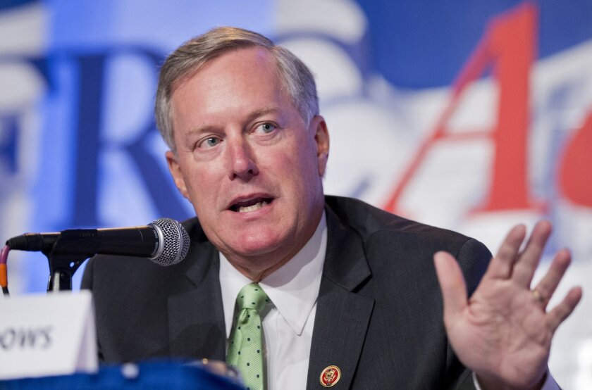 FILE - In this Sept. 26, 2014 file photo, Rep. Mark Meadows, R-N.C. speaks in Washington. Sen. Ted Cruz's rivals like to say he doesn't have any friends in Washington. Despite a distinct lack of support from Senate colleagues _ not one single endorsement, the Republican presidential candidate and f
