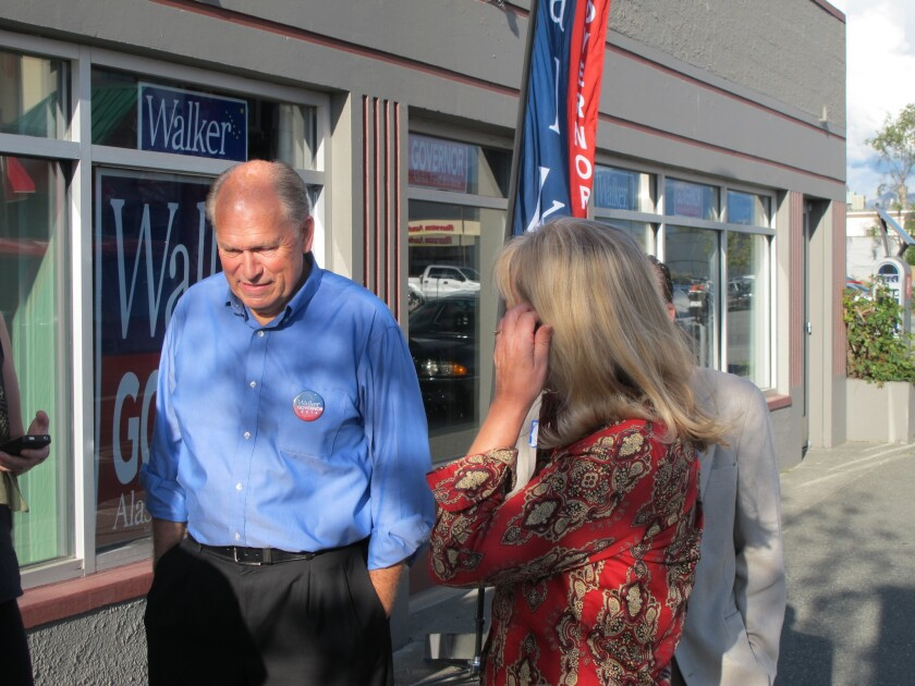 """The race for Alaska governor became a two-man contest between independent Bill Walker, above, left, and incumbent Republican Sean Parnell when Democrat Byron Mallott dropped out of the race to join Walker on a """"unity ticket"""" and run for lieutenant governor."""
