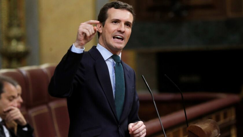 Spanish opposition leader Pablo Casado speaks in the lower house of parliament in Madrid on Tuesday.