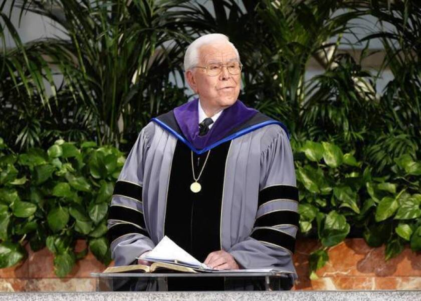 Doctors say that Robert H. Schuller, shown during a Sunday service at the Crystal Cathedral in 2010, has life-threatening cancer but with treatment could live another two years, the famed evangelist's famiy has announced.