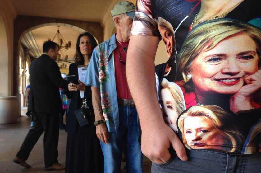 Jack Minnick of San Diego with his Hillary Clinton shirt waiting in line at Balboa Park.