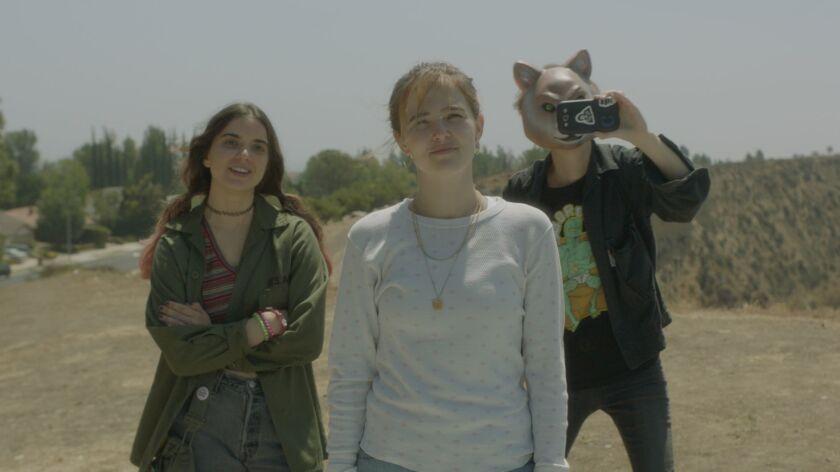"""Maya Eshet, Zoey Deutch, and Dylan Gelula in """"Flower."""""""
