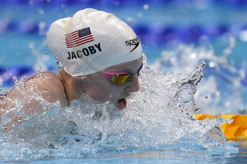 Lydia Jacoby of the United States swims during a semifinal in the women's 100-meter breaststroke at the 2020 Summer Olympics, Monday, July 26, 2021, in Tokyo, Japan. (AP Photo/Martin Meissner)