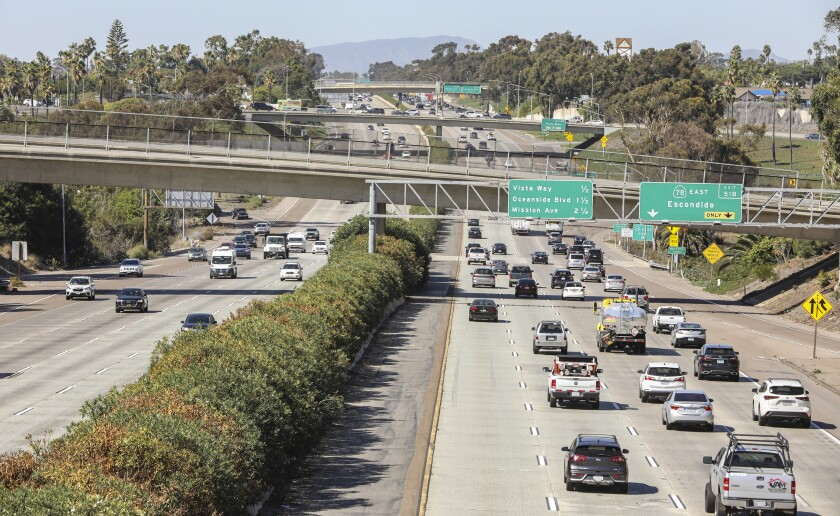 Traffic on I-5 looking north from Las Flores Drive in Carlsbad, where state officials plan to add two HOV lanes.