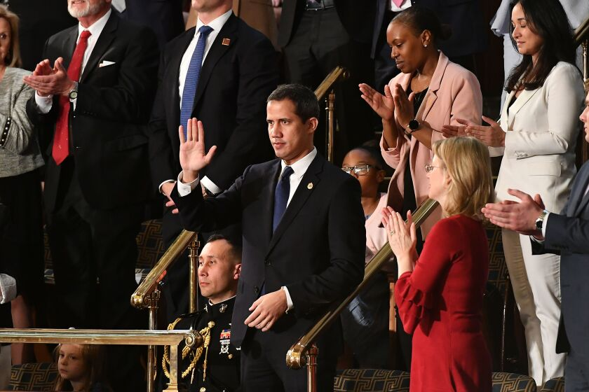 Venezuelan opposition leader Juan Guaido at the State of the Union address on Feb. 4, 2020