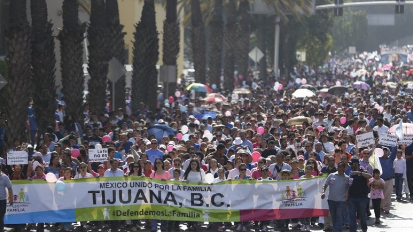 Thousands rally against same-sex unions in Tijuana.