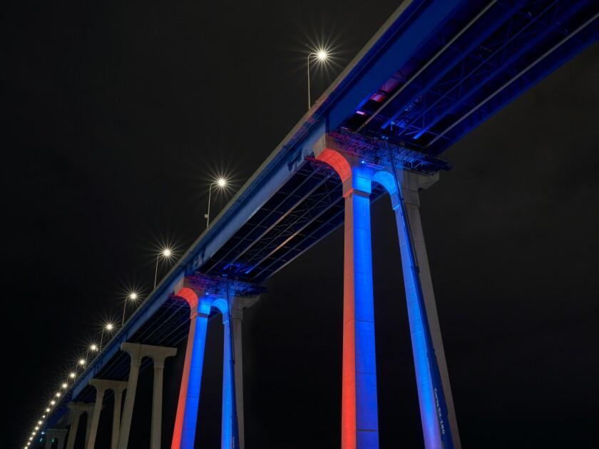 Coronado bridge lighting test