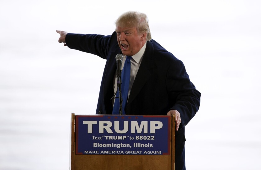Republican presidential candidate Donald Trump speaks at a rally in Bloomington, Ill., on March 13.