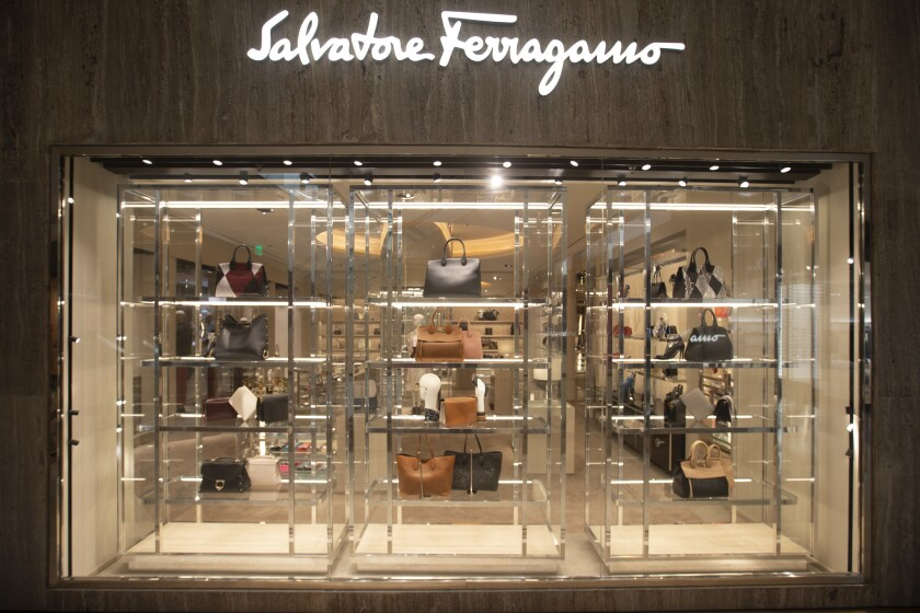 The Salvatore Ferragamo store at South Coast Plaza in Costa Mesa. Fears of anticipated civil unrest delayed a publicized Monday reopening, mall officials said on social media.