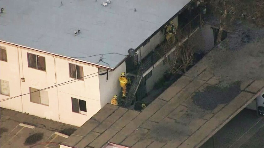 A father and son died in an apartment fire in Port Hueneme early Friday morning.