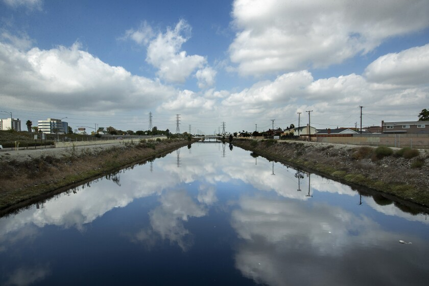 Overall, shows the Dominguez Channel in Carson as seen from Carson St.