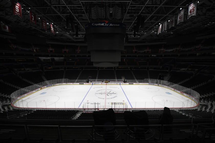 An empty hockey arena.