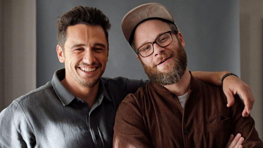 "BEVERLY HILLS, CALIF. -- NOVEMBER 13, 2017: James Franco and Seth Rogen in ""The Disaster Artist,"" a"