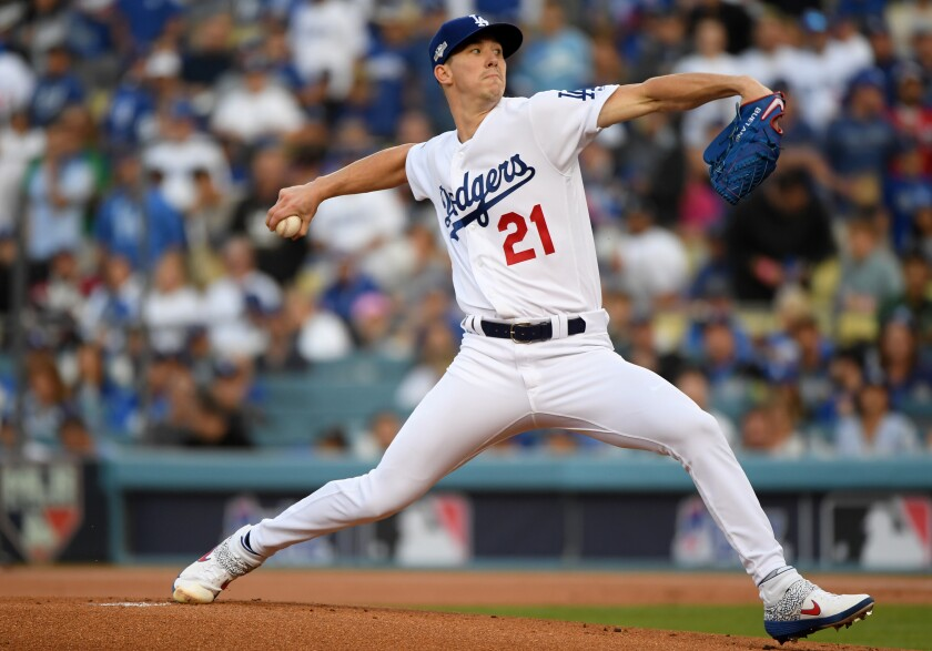 Dodgers right-hander Walker Buehler pitches during the National League Division Series against the Nationals on Oct. 9, 2019.