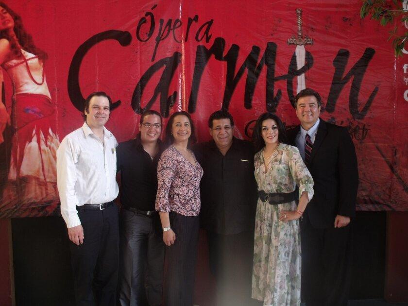 """Preparing to present the opera """"Carmen"""" in Tijuana on Thursday and Saturday are from left to right,  music director Armando Pesqueira, baritone Amed Liévanos (Escamillo), mezzo soprano Grace Echauri (Carmen) stage director José Medina, soprano Monica Abrego (Micaela) and tenor José Luis Duval (Don"""
