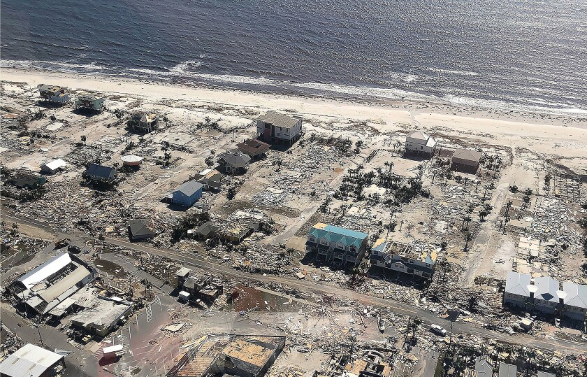 Aerial image shows damage to homes from Hurricane Michael in Mexico Beach, Fla.