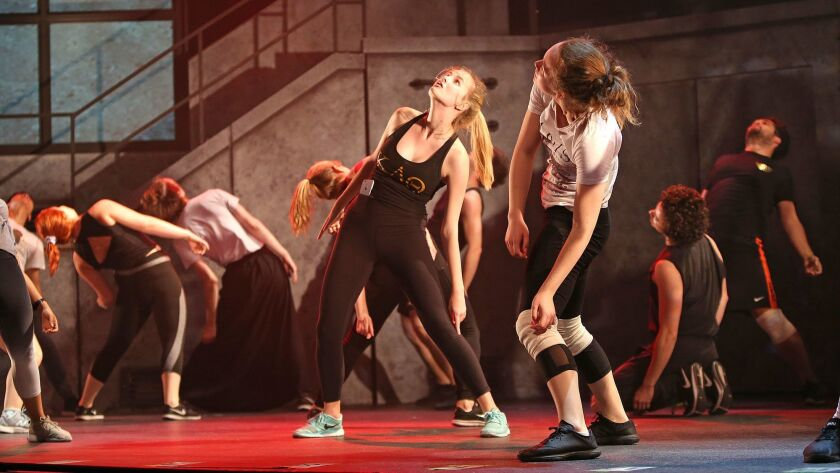 """Cast members dance the first scene during the rehearsal of """"American Idiot"""" at UCI's Claire Trevor T"""