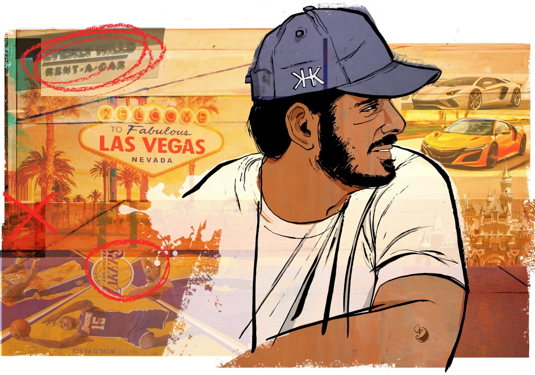 Illustration of Al Thani in a t-shirt and personalized ball cap, with scenes of Las Vegas, fast cars and sports events.
