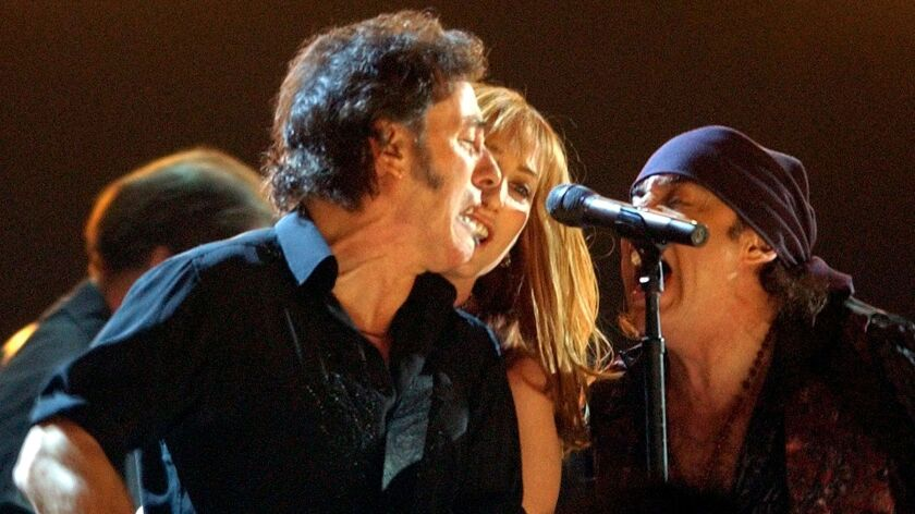 Bruce Springsteen and the E Street Band, shown performing on the Grammy Awards at Madison Square Garden in 2003, when the ceremony last took place in New York City.