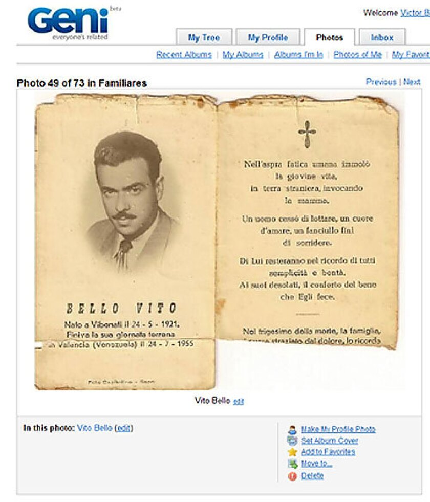 Vito Bello, Italian-born grandfather of tree-creator Victor Bello, was eulogized in a family pamphlet. Bello has uploaded an image of the page to his family's Geni.com family tree. The family uses Geni to virtually share hundreds of photos from all parts of the 1,100-member tree.