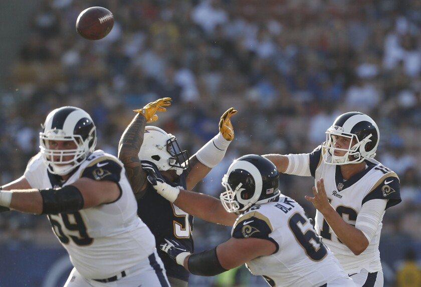 Quarterback Jared Goff and the Rams will have a home game next season against their crosstown rivals.