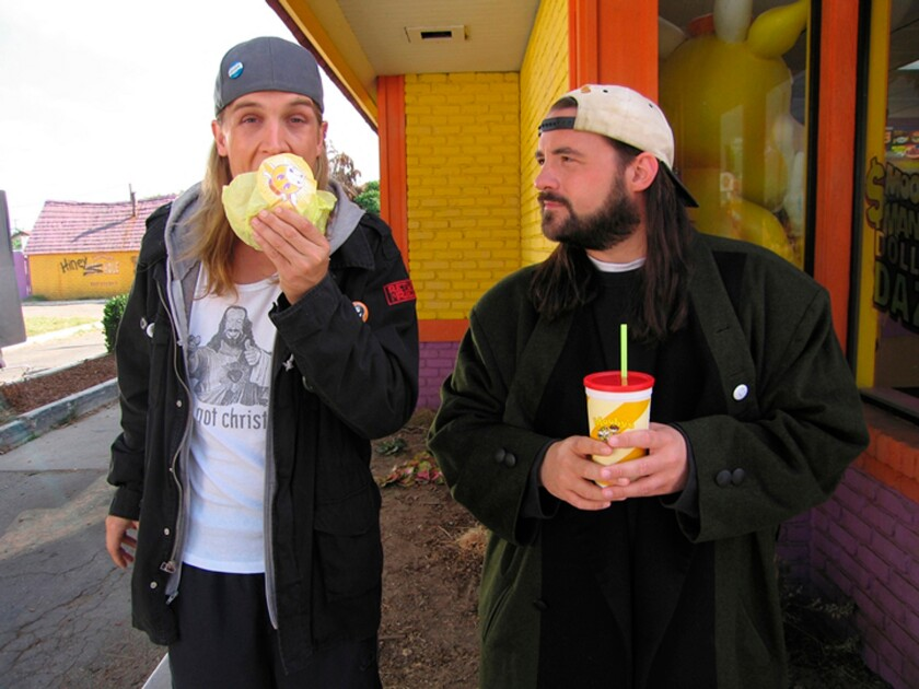 A photo of Jason Mewes and Kevin Smith, who are Jay & Silent Bob