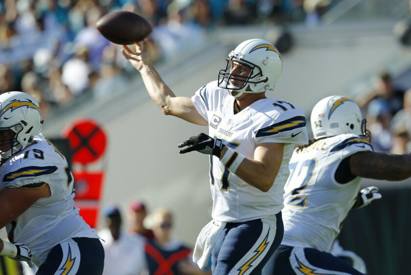 San Diego Chargers Philip Rivers throws against Jacksonville in the 2nd quarter. (K.C. Alfred/ San Diego Union-Tribune)
