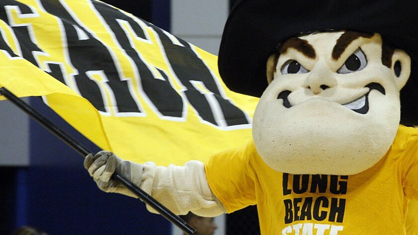Cal State Long Beach mascot Prospector Pete fires up the crowd before a game at the Pyramid in 2011.