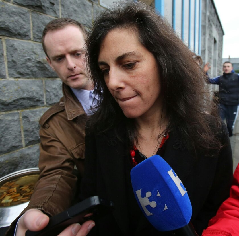Jenny Lauren, niece of US fashion designer Ralph Lauren, leaves Ennis District Court, Ennis, Ireland, Wednesday Jan. 8, 2014. Lauren appeared in an Irish court on charges of being drunk and disorderly on a New York-bound plane. Jewelry designer Jenny Lauren was arrested after a Delta flight from Ba