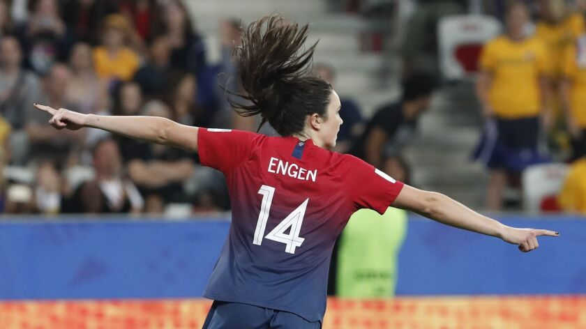 Norway's Ingrid Syrstad Engen celebrates after scoring in the penalty shootout in the Women's World Cup match between Norway and Australia in Nice, France on Saturday.