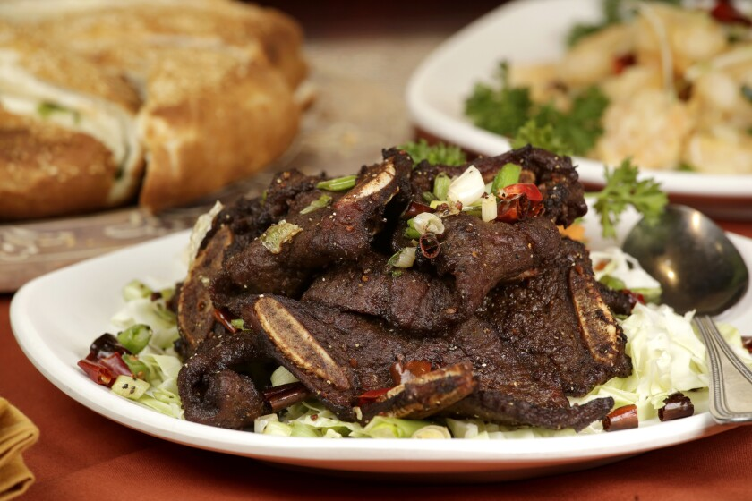 The short ribs, as served at Mas' Chinese Islamic Restaurant in Anaheim.