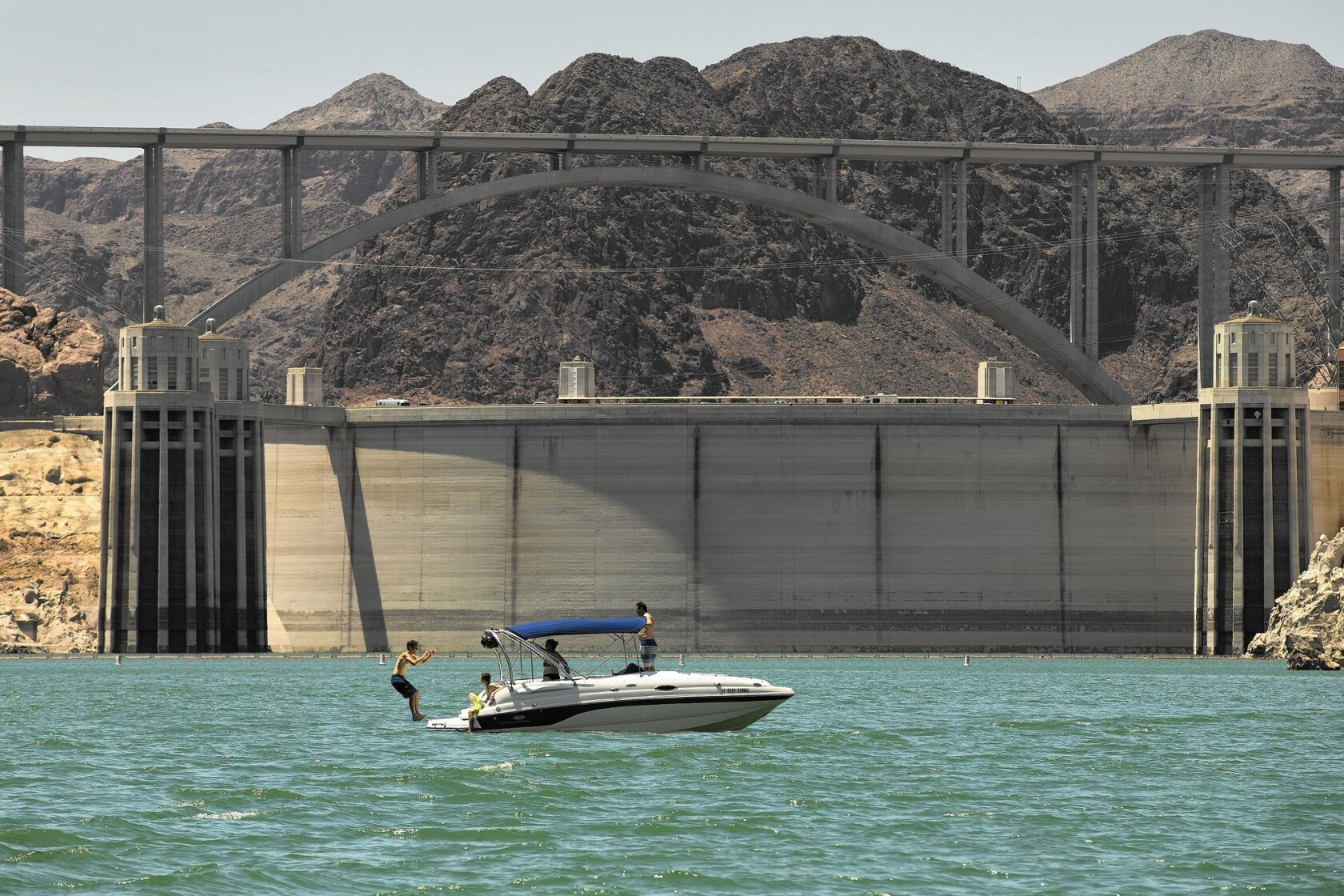 Hoover Dam, an engineering marvel, is surrounded by natural
