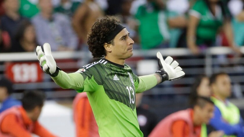 Mexico goalkeeper Guillermo Ochoa reacts after giving up a goal to Chile during a Copa America quarterfinal match on June 18.