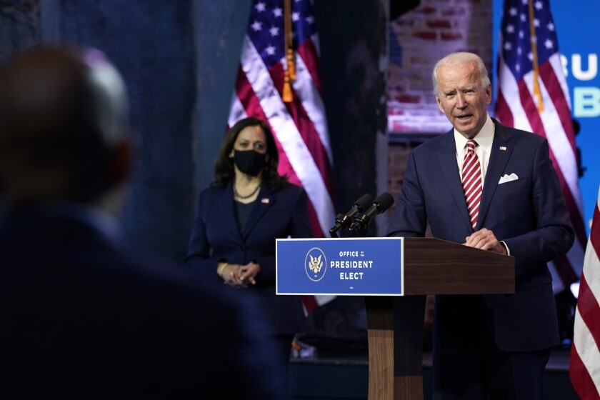 President-elect Joe Biden speaks about economic recovery at The Queen theater, Monday, Nov. 16, 2020, in Wilmington, Del.