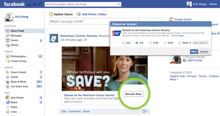 Facebook has introduced Donate, a new feature that makes it simple for users to quickly donate to charities.