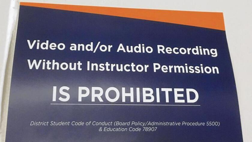 A sign posted at Orange Coast College in Costa Mesa.