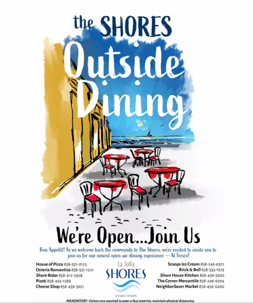 LJSA board member Ed Mackey created a sample flier in anticipation of the launch of an outdoor dining program in the Shores.