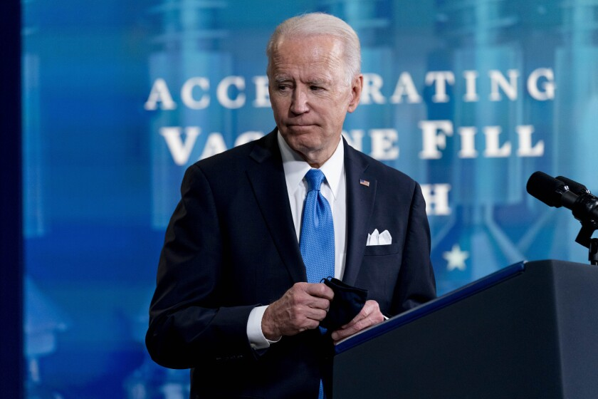 President Joe Biden leaves an event with Johnson and Johnson Chairman and CEO Alex Gorsky, and Merck Chairman and CEO Kenneth Frazier in the South Court Auditorium in the Eisenhower Executive Office Building on the White House Campus, Wednesday, March 10, 2021, in Washington. (AP Photo/Andrew Harnik)